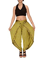 Skirts & Scarves Womens Rayon Embroidered Aladdin Dhoti/Harem Pant (Green)