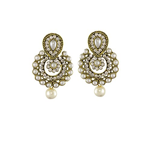 Unicorn Ethnic Ramleela Small Dangle Drop Earring in Pearls for Women and Girls - UENWER50129PL  available at amazon for Rs.155