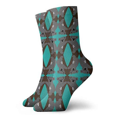 yting Grünes Koala-Diamant-Muster Erwachsene atmungsaktive kurze Socken 30 cm Baumwolle klassische Socken für Herren Damen Yoga Wandern Laufen -