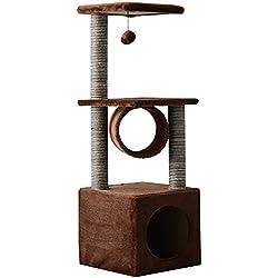 PawHut Árbol para Gatos Rascador Grande con Plataformas Casetas Bolas de Juego 104cm Tablero de partículas Cubierto de Felpa Beige