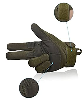 Fuyuanda Shooting Gloves Gloves Full Finger Gloves Hard Knuckle Outdoor Glove For Airsoft Paintball Pistol Hunting Riding Cycling C13 (Olive, Large) 3