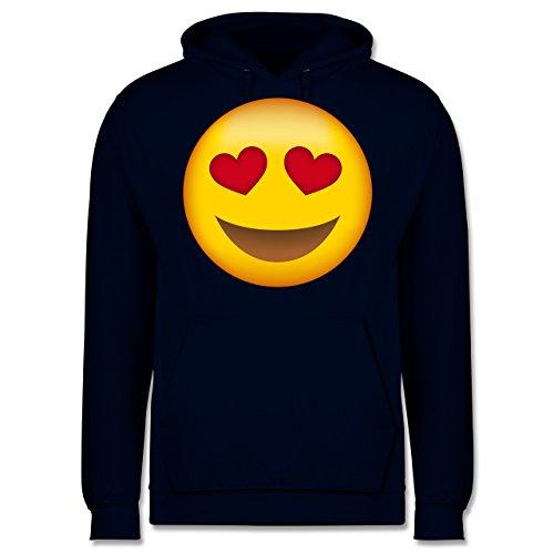 Comic Shirts - Verliebter Emoji - Männer Premium Kapuzenpullover / Hoodie Dunkelblau