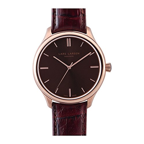 Lars Larsen 120SSRL Mens Philip Rose Gold Sahara Rustic Brown Leather Strap Watch
