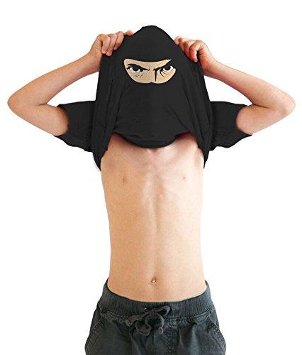 uth Ninja Disguise Flip T Shirt Funny Cool Costume Mask Tee For Kids (Black) - XL - jungen - XL (Black Ninja Kind Kostüme)