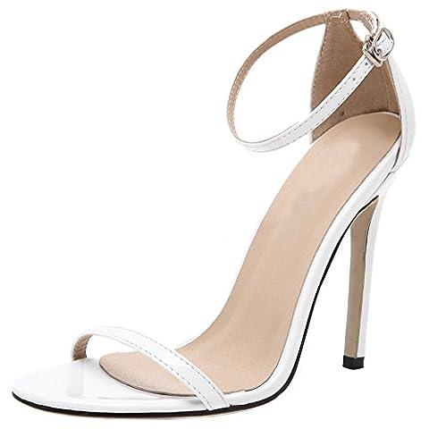 HooH Femmes Sandales Stiletto Peep Toe Sexy Ankle Strap Escarpins Blanc 40 EU