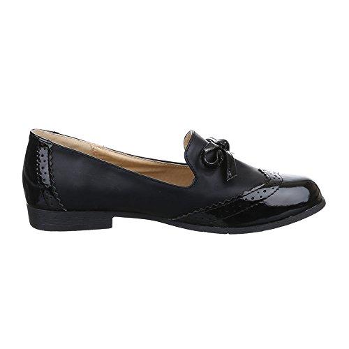 Damen Schuhe, 6169-1, HALBSCHUHE SLIPPER MIT DEKO SCHLEIFE Schwarz