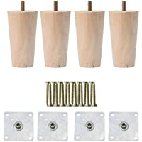 sourcingmap 5 Inch Round Solid Wood Furniture Legs Couch Chair Table Desk Closet Cabinet Feet Replacement Adjuster Set of 4