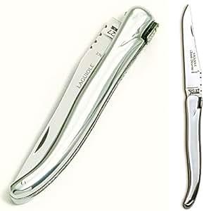 ProPassione Laguiole couteau de poche moderne, manche en aluminium poli, dimensions: L 12 cm, lame 10 cm