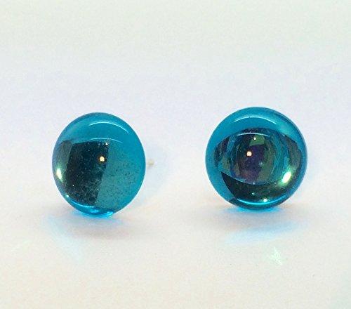 Vintage, colore: blu acqua, in vetro a specchio e cristallo