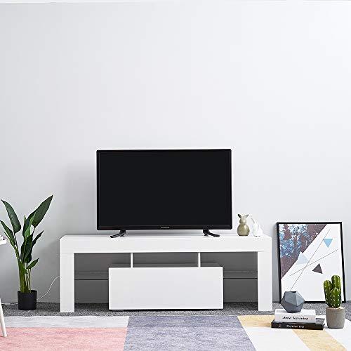 Anaelle Panana Meuble TV en Verre sur Salle de Séjour, Salon et Chambre à Coucher etc, Taile: 130 x 35 x 45 cm, Poids: 22kg (Blanc)
