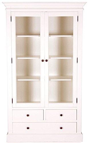 Casa Padrino Landhausstil Vitrinenschrank Antik Weiß 110 x 45 x H. 190 cm - Handgefertigte Shabby Chic Vitrine