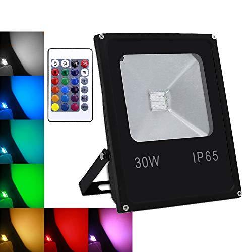 wolketon 30W RGB Foco LED proyector Lámpara Exterior IP65