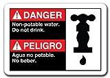 Funny Deko Schilder Gefahr Schild Gefahr non-potable Wasser nicht Drink (Zweisprachige Spanisch) Sicherheit Metall Aluminium Schild für Garagen, Wohnzimmer