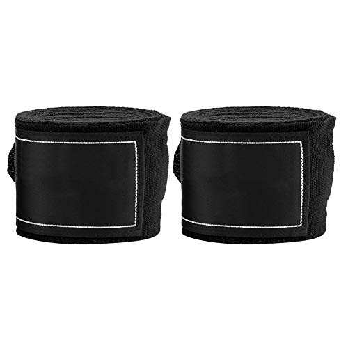 Dilwe Boxing Wraps, 2Pcs 2,5m Gummiband Bandage Mitts Hand Wraps Guards Innere Handschuhe Faustschutz für Boxen Kampfkunst Sanda Muay Thai MMA Taekwondo(Schwarz) Innere Handschuhe