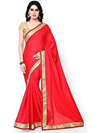 Sarvagny Clothings Women's Crepe Georgette Saree With Blouse Piece (Red-Latkan)