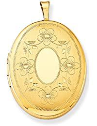 ICE CARATS 1/20 Gold Filled 26mm Oval Photo Pendant Charm Locket Chain Necklace That Holds Pictures Fashion Jewelry Gift Set For Women Heart