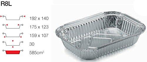 contital Barquette en aluminium 2 portions 100 PZ R8L avec couvercle