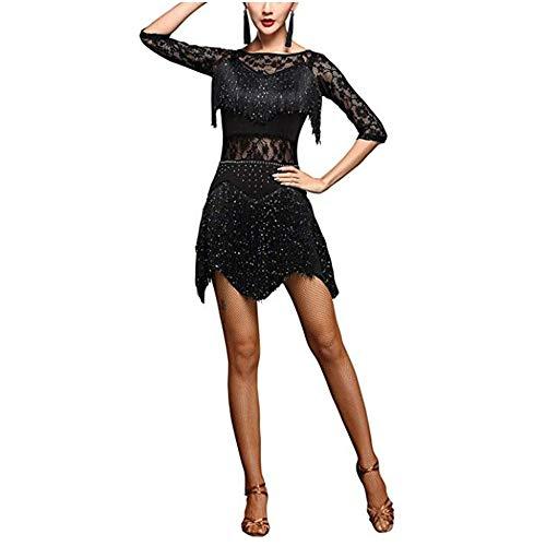 LULUVicky-WMDress Latin Dance Dress Frauen Funkelnde Pailletten verschönert Fransen Quaste Flapper Latin Dance Kleid halbe Hülse Blumenspitze Ballroom Dancewear Wettbewerb Performance Kostüme