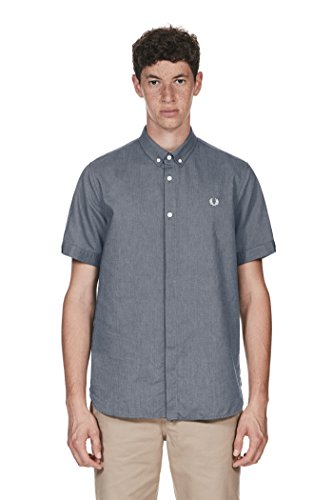Fred Perry Authentics Short Sleeved Oxford Shirt Blau