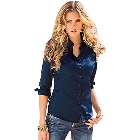 FEITONG Las señoras para mujer Manga larga Algodón Ocasional de la camisa de la blusa superior