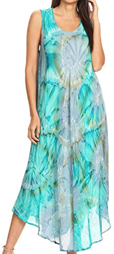 Sakkas 16801 - Laeila Tie Dye gewaschen Tall Long Sleeveless Tank Top Kaftan Kleid/Cover Up - Grün/Grau - OS