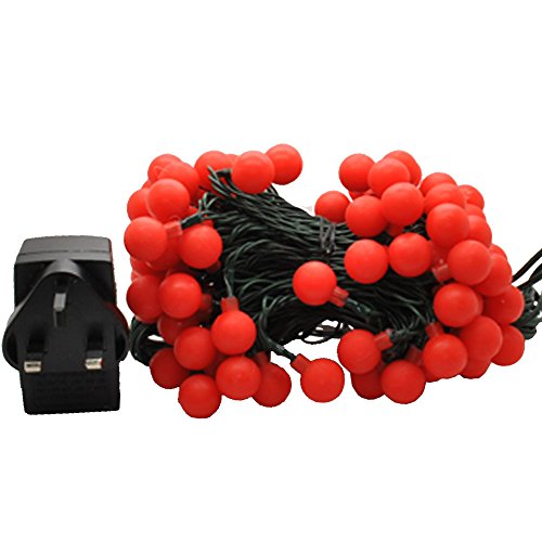 JnDee Waterproof Holly Berry Ball Fairy Lights 10M 100 LED RED Colour with 8 Light Effects ...