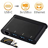 JYDMIX 4-in-1 USB-C Hub Typ-C auf 3X USB 3.0 + Gigabit Ethernet Hub USB 3.1 Multi-in-1 OTG Adapter für USB-C fähige Geräte