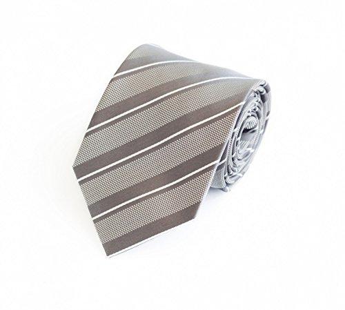 Fabio Farini Seidenweiche Krawatte 8 cm in verschiedenen Farben, Grau-Weiß gestreift (Grau Grüne Krawatten Seide)