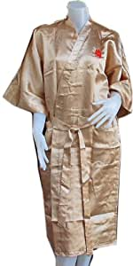 HelloThailand BATH ROBE WITH DRAGON DESIGN IS A SYMBOL OF GREAT PROSPERITY AND HIGH SOCIAL STATUS.KIMONO UNISEX'S SATIN ROBE - ONE SIZE FIT ALL.