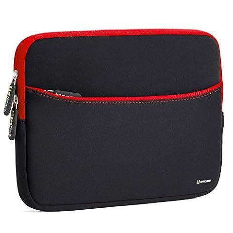 Laptophülle, Evecase Universal 11.6 Zoll Neopren Laptop Schutzhülle mit vorderseitigem Zubehörfach für Laptops Notebook Ultrabook Macbook - Schwarz/Rot