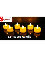 Satyam Kraft Led Tea Light Candle Diya For Diwali Decoration/ Diwali Decoration/diwali lights for decoration / diwali decoration items / diwali gifts for family and friends/diwali lights for decoration/ Home Decor/Diwali Gift/ diwali lights for decoration /Home Decor/Diwali Gift/Gift -Yellow (Box Of 12)//diwali light /diwali lights and decorations/ diwali lights /diwali lights for house /diwali light decorations /diwali decoration light for balcony Christmas light