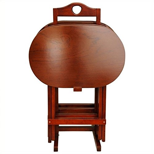 ORIENTAL FURNITURE Oriental meubles en bois massif de qualité d'ameublement, 48,3 cm de hauteur, Lot de palissandre TV Plateau Tables pliantes