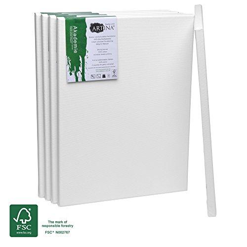 Artina Akademie FSC-zertifizierter Keilrahmen Set 5er - 30x40 cm mit 100% Baumwolle Leinwand Keilrahmen Weiß - 280g/m² - verzugsfrei