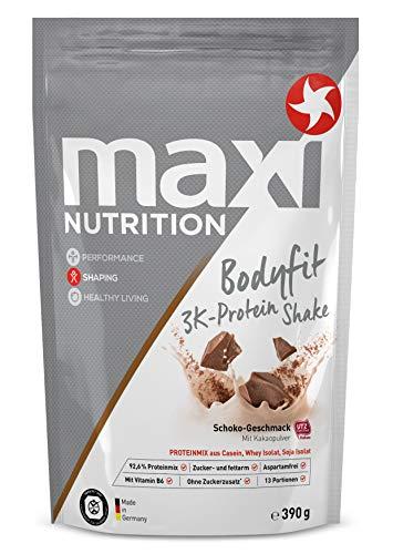 MaxiNutrition Bodyfit 3K Protein Shake Schokolade - Mehrkomponenten Protein Shake mit Casein, Molkenproteinisolat & Sojaproteinisolat für den Muskelaufbau - 1 x 390 g Beutel