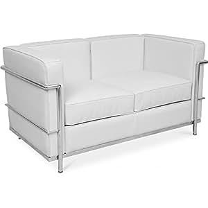 Canapé design LC2 style Le Corbusier 2 places - Cuir Premium Blanc