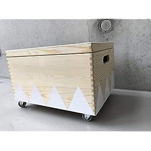 Holz Spielzeugkiste Weiß - Rollen Triangel skandinavisch mit Deckel