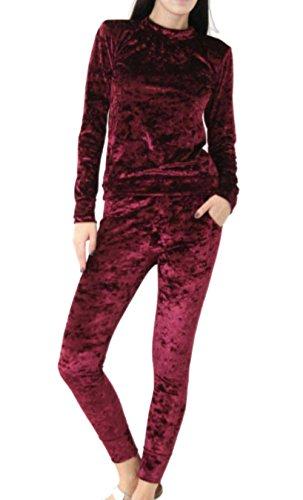 Yidarton Survêtement Femme Velours Hiver Sweat-shirts Manches Longues + Pantalon Casual Jogging Ensemble de Pajamas Bordeaux