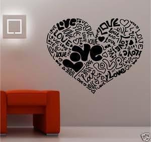Online Design Giant Love Heart Made From Love Vinyl Wall