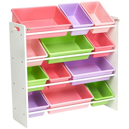 AmazonBasics - Organizador de almacenamiento de juguetes para niños - Blanco/Pastel