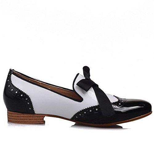 VogueZone009 Femme à Talon Bas Verni Couleurs Mélangées Tire Rond Chaussures Légeres Blanc