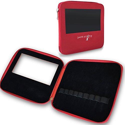 Häkelnadel Veranstalter Fall, Lagerung, Organisation Tasche mit Reißverschluss Halterung für ergonomisches Licht bis Häkelnadeln, Nadeln und Zubehör mit transparentem Fenster rot