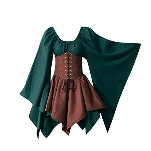 Dorical Langarm Mittelalter Gothic Kleid Für Damen/Frauen Vintage Übergröße Midikleid Renaissance Cosplay Kostüm Prinzessin Kleid Kurz Abendkleid Karneval Party ABVERKAUF(Khaki,XX-Large)