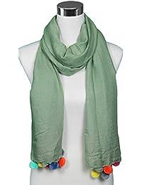 Mevina Damen Schal mit bunten Bommeln groß Sommer Ibiza Style Tuch Schal Halstuch Premium Qualität