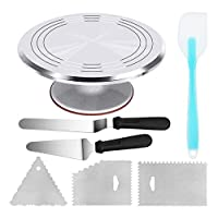 Aluminium Alloy Revolving Cake Stand 12 Inch Cake Turntable with 12.7'' Angled Icing Spatula, 3 Comb Icing Smoother, Silicon Spatula and Cake Server/Cutter Baking Cake Decorating Supplies