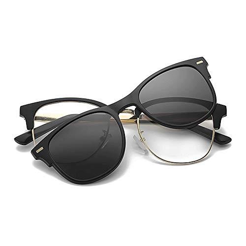 Easy Go Shopping Rivet Full Frame Retro Sonnenbrille mit austauschbaren Gläsern für Männer, Frauen, farbige Linse unzerbrechlicher TR90-Rahmen Clip-on-UV-Schutz (Farbe : Schwarz)