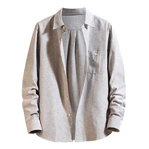 Dwevkeful Hemden Herren Slim Fit Casual Long Sleeve Monochrome Loose Freizeithemd Herbst Funky Umweltfreudlich Elastisch Big Tank Regular Reine Farbe -