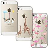 [3-Pièces] Coque iPhone 5, Coque iPhone 5S, iPhone SE, blossom01 Ultra Mince Cute Motif Premium TPU Souple Etui de Protection pour iPhone 5 / 5S / SE - Flamant Rose et Girafe et Pingouin