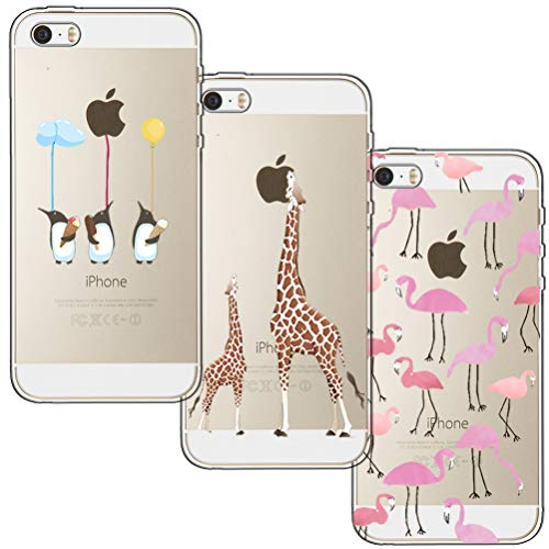 [3 Pack] iPhone 5 Case, iPhone 5S Case, iPhone SE Case, Blossom01 Ultra Thin Soft Gel TPU Silicone Case Cover with Cute Cartoon for Apple iPhone 5 / 5S / SE - Flamingo & Giraffe & Penguin