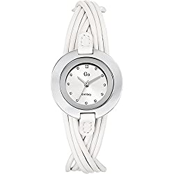 Go-Girl Only 698114 Women's Quartz Analogue Watch-White Face-White Leather Strap