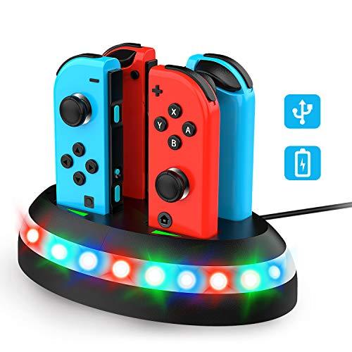 Thiroom Stazionamento di Ricarica per Nintendo Switch Joy ConDock di Ricarica con Indicazione LEDCaricabatterie Supporta Joy Con 4 1